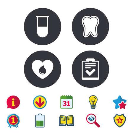 Medizinische symbole. Zahn, Reagenzglas, Blutspende und Checklistenzeichen. Symbol für Laborausstattung. Zahnpflege. Kalender, Informationen und Download-Zeichen. Sterne, Auszeichnung und Buchsymbole. Vektor Standard-Bild - 80473859