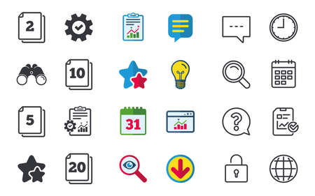 In pack sheets icons. Quantity per package symbols. 2, 5, 10 and 20 paper units in the pack signs. Chat, Report and Calendar signs. Stars, Statistics and Download icons. Question, Clock and Globe Stok Fotoğraf - 80473865
