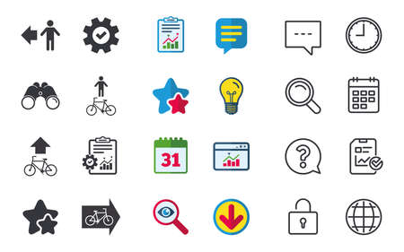 Pedestrian road icon. Bicycle path trail sign. Cycle path. Arrow symbol. Chat, Report and Calendar signs. Stars, Statistics and Download icons. Question, Clock and Globe. Vector Çizim