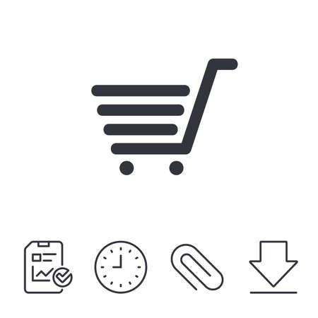 token: Shopping Cart sign icon. Online buying button. Report, Time and Download line signs. Paper Clip linear icon. Vector