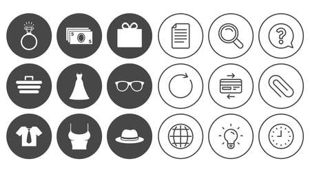 Accessories, clothes icons. Shirt with tie, glasses signs. Dress and engagement ring symbols. Document, Globe and Clock line signs. Lamp, Magnifier and Paper clip icons. Vector Çizim