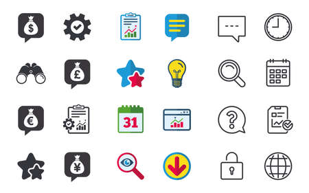 yen: Money bag icons. Dollar, Euro, Pound and Yen speech bubbles symbols. USD, EUR, GBP and JPY currency signs. Chat, Report and Calendar signs. Stars, Statistics and Download icons. Vector