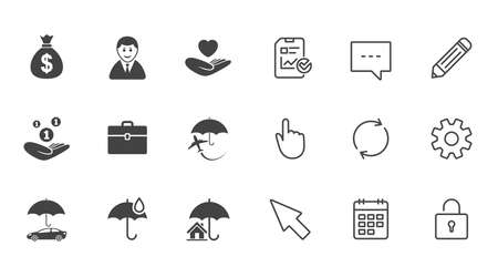 Insurance icons. Life, Real estate and House signs. Saving money, vehicle and umbrella symbols. Chat, Report and Calendar line signs. Service, Pencil and Locker icons. Click, Rotation and Cursor