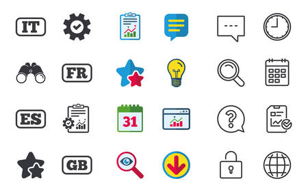 Language icons. IT, ES, FR and GB translation symbols. Italy, Spain, France and England languages. Chat, Report and Calendar signs. Stars, Statistics and Download icons. Question, Clock and Globe