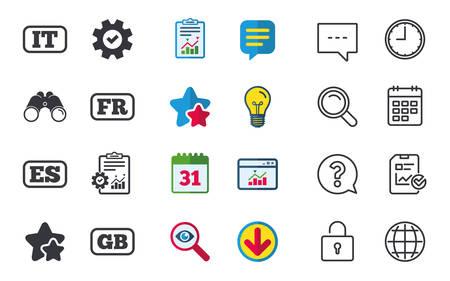 Taalpictogrammen. IT, ES, FR en GB-vertaalsymbolen. Talen van Italië, Spanje, Frankrijk en Engeland. Chat-, rapport- en kalenderborden. Sterren, Statistieken en Download pictogrammen. Vraag, klok en wereld