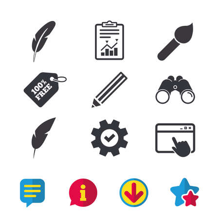 tassel: Feather retro pen icons. Paint brush and pencil symbols. Artist tools signs. Browser window, Report and Service signs. Binoculars, Information and Download icons. Stars and Chat. Vector