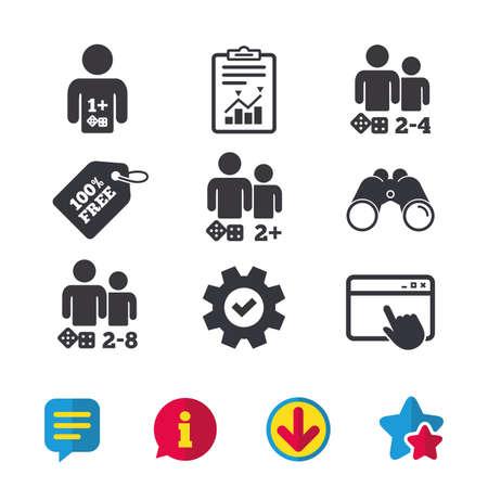 Iconos de jugador Los jugadores de juegos de mesa firman símbolos. Ventana del navegador, signos de Informe y Servicio. Binoculares, información y descargar iconos. Estrellas y charla. Vector Foto de archivo - 80473885