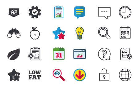 Low fat arrow icons. Diets and vegetarian food signs. Apple with leaf symbol. Chat, Report and Calendar signs. Stars, Statistics and Download icons. Question, Clock and Globe. Vector