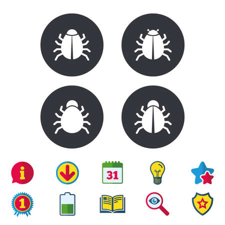 Bugs vaccination icons. Virus software error sign symbols. Calendar, Information and Download signs. Stars, Award and Book icons. Light bulb, Shield and Search. Vector Illustration