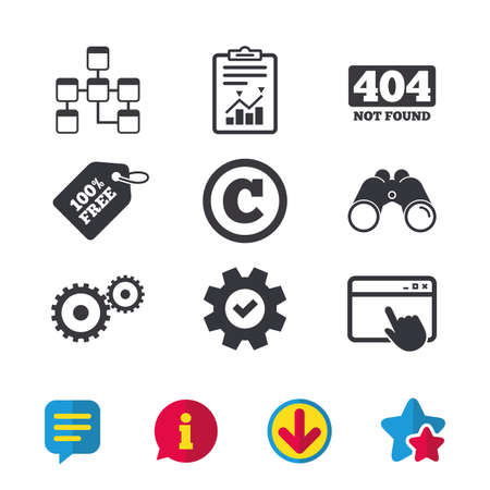 Website database icon. Copyrights and gear signs. 404 page not found symbol. Under construction. Browser window, Report and Service signs. Binoculars, Information and Download icons. Stars and Chat
