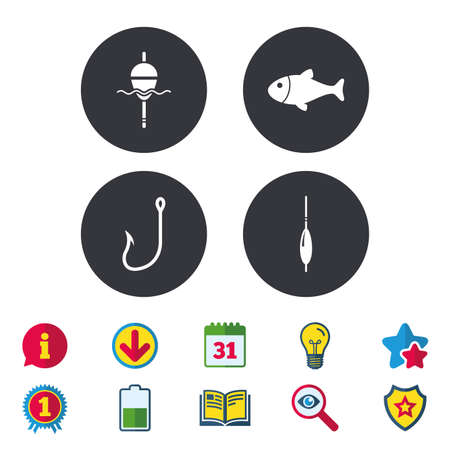 fishhook: Fishing icons. Fish with fishermen hook sign. Float bobber symbol. Calendar, Information and Download signs. Stars, Award and Book icons. Light bulb, Shield and Search. Vector