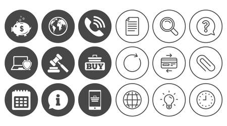 Online shopping, e-commerce and business icons. Auction, phone call and information signs. Piggy bank, calendar and smartphone symbols. Document, Globe and Clock line signs. Vector