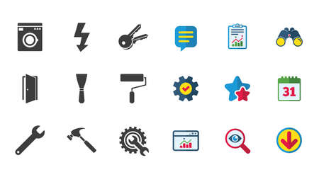 Repair, construction icons. Electricity, keys and hammer signs. Door, washing machine and service symbols. Calendar, Report and Download signs. Stars, Service and Search icons. Vector Illustration