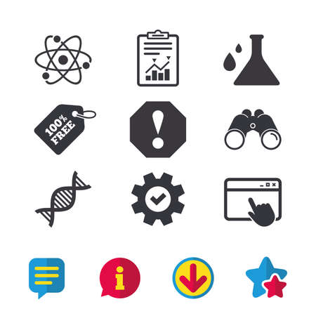Attention and DNA icons. Chemistry flask sign. Atom symbol. Browser window, Report and Service signs. Binoculars, Information and Download icons. Stars and Chat. Vector