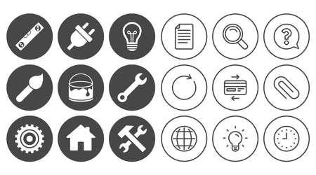Reparatur, Bauikonen. Zeichen für Hammer, Schraubenschlüssel und Zahnrad. Stecker, Lampe und Haussymbole. Zeichen-, Globe- und Clock-Linienzeichen. Symbole für Lampen, Lupen und Büroklammern. Vektor Standard-Bild - 80473905