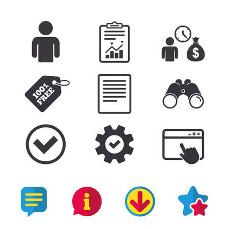 Bank loans icons. Cash money bag symbol. Apply for credit sign. Check or Tick mark. Browser window, Report and Service signs. Binoculars, Information and Download icons. Stars and Chat. Vector Illustration