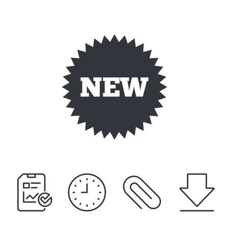 New sign icon. New arrival star symbol. Report, Time and Download line signs. Paper Clip linear icon. Vector