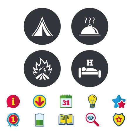 breakfast in bed: Hot food, sleep, camping tent and fire icons. Hotel or bed and breakfast. Road signs. Calendar, Information and Download signs. Stars, Award and Book icons. Light bulb, Shield and Search. Vector