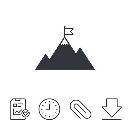 Flag on mountain icon. Leadership motivation sign. Mountaineering symbol. Report, Time and Download line signs. Paper Clip linear icon. Vector Çizim