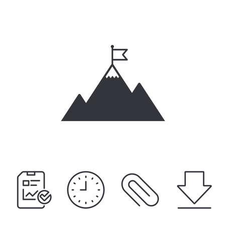 Vlag op berg pictogram. Leiderschap motivatie teken. Bergbeklimmen symbool. Rapport, Tijd en Download lijntekens. Paper Clip line-icoon. Vector Stock Illustratie