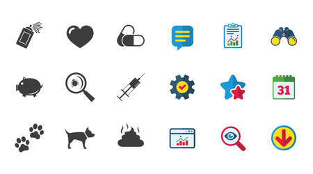 Veterinary, pets icons. Dog paws, syringe and magnifier signs. Pills, heart and feces symbols. Calendar, Report and Download signs. Stars, Service and Search icons. Statistics, Binoculars and Chat Illustration