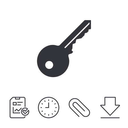 Key sign icon. Unlock tool symbol. Report, Time and Download line signs. Paper Clip linear icon. Vector
