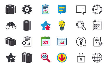 Toilet paper icons. Kitchen roll towel symbols. WC paper signs. Chat, Report and Calendar signs. Stars, Statistics and Download icons. Question, Clock and Globe. Vector Illustration