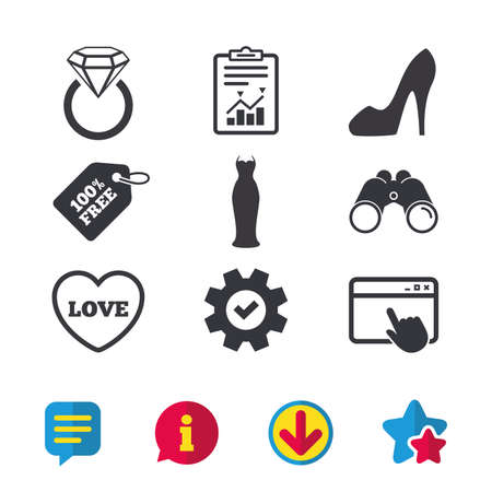 wearing: Wedding slim dress icon. Womens shoe and love heart symbols. Wedding or engagement day ring with diamond sign. Browser window, Report and Service signs. Binoculars, Information and Download icons