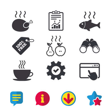 Hot food icons. Grill chicken and fish symbols. Hot coffee cup sign. Cook or fry apple and pear fruits. Browser window, Report and Service signs. Binoculars, Information and Download icons. Vector