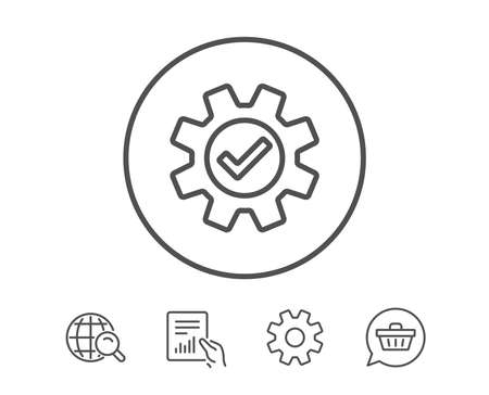 Cogwheel line icon. Approved Service sign. Transmission Rotation Mechanism symbol. Hold Report, Service and Global search line signs. Shopping cart icon. Editable stroke. Vector