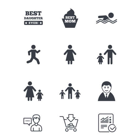 People, family icons. Swimming pool, person signs. Best mom, father and mother symbols. Customer service, Shopping cart and Report line signs. Online shopping and Statistics. Vector