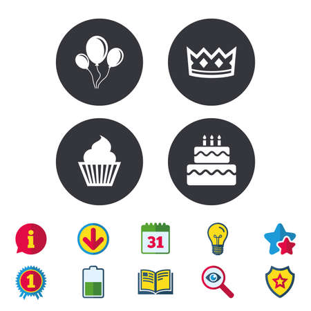 Birthday crown party icons. Cake and cupcake signs. Air balloons with rope symbol. Calendar, Information and Download signs. Stars, Award and Book icons. Light bulb, Shield and Search. Vector