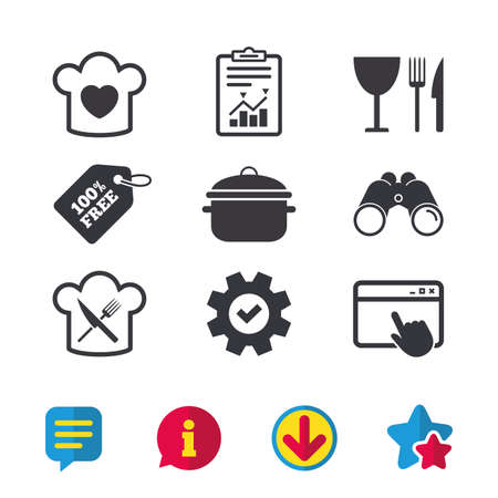 Chief hat with heart and cooking pan icons. Crosswise fork and knife signs. Boil or stew food symbol. Browser window, Report and Service signs. Binoculars, Information and Download icons. Vector