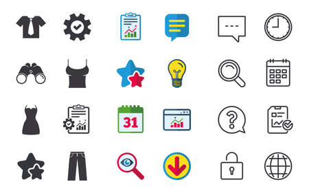 Clothes icons. T-shirt with business tie and pants signs. Women dress symbol. Chat, Report and Calendar signs. Stars, Statistics and Download icons. Question, Clock and Globe. Vector Illustration