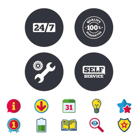 gearwheel: Repair fix tool icons. 24h Customer support service signs. 100% quality guarantee symbol. Cogwheel gear with wrench key. Calendar, Information and Download signs. Stars, Award and Book icons. Vector