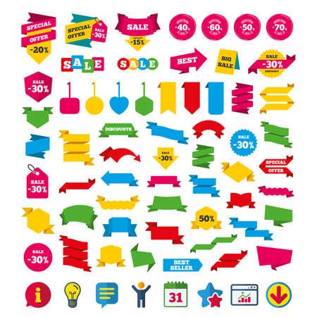 Sale discount icons. Special offer stamp price signs. 40, 50, 60 and 70 percent off reduction symbols. Shopping tags, banners and coupons signs. Calendar, Information and Download icons. Vector