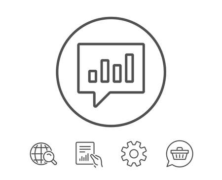 Chart line icon. Report graph or Sales growth sign in speech bubble. Analysis and Statistics data symbol. Hold Report, Service and Global search line signs. Shopping cart icon. Editable stroke. Vector