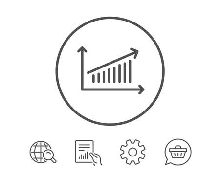 차트 라인 아이콘입니다. 보고서 그래프 또는 판매 성장 사인. 분석 및 통계 데이터 기호입니다. 보고서, 서비스 및 글로벌 검색 라인 신호 보류. 쇼핑  일러스트