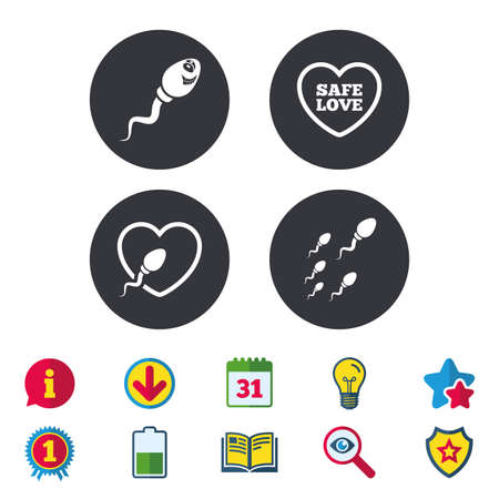Sperm icons. Fertilization or insemination signs. Safe love heart symbol. Calendar, Information and Download signs. Stars, Award and Book icons. Light bulb, Shield and Search. Vector Illustration