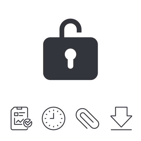 opened: Lock sign icon. Login symbol. Report, Time and Download line signs. Paper Clip linear icon. Vector
