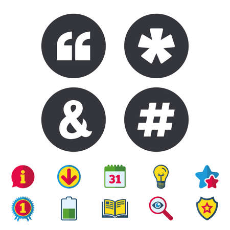 Quote, asterisk footnote icons. Hashtag social media and ampersand symbols. Programming logical operator AND sign. Calendar, Information and Download signs. Stars, Award and Book icons. Vector Illustration