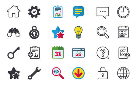 unlocking: Home key icon. Wrench service tool symbol. Locker sign. Main page web navigation. Chat, Report and Calendar signs. Stars, Statistics and Download icons. Question, Clock and Globe. Vector Illustration