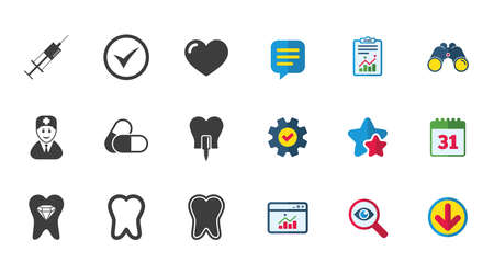 Tooth, dental care icons. Stomatology, syringe and implant signs. Healthy teeth, dentist and pills symbols. Calendar, Report and Download signs. Stars, Service and Search icons. Vector