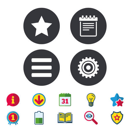 star award: Star favorite and menu list icons. Notepad and cogwheel gear sign symbols. Calendar, Information and Download signs. Stars, Award and Book icons. Light bulb, Shield and Search. Vector Illustration