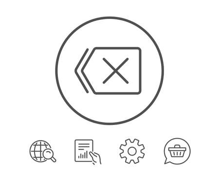 Delete line icon. Remove sign. Cancel or Close symbol. Hold Report, Service and Global search line signs. Shopping cart icon. Editable stroke. Vector