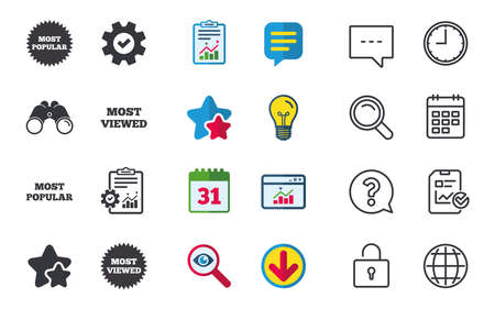 Most popular star icon. Most viewed symbols. Clients or customers choice signs. Chat, Report and Calendar signs. Stars, Statistics and Download icons. Question, Clock and Globe. Vector Illustration