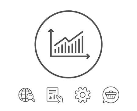 차트 라인 아이콘입니다. 보고서 그래프 또는 판매 성장 사인. 분석 및 통계 데이터 기호입니다. 보고서, 서비스 및 글로벌 검색 라인 신호 보류. 쇼핑 카트 아이콘입니다. 편집 가능한 획. 벡터 스톡 콘텐츠 - 80473507