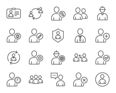 ユーザー行のアイコン。プロファイル、グループとサポートに署名します。Id カード、チームワークおよびビジネスマンのシンボル。人の話は、エ