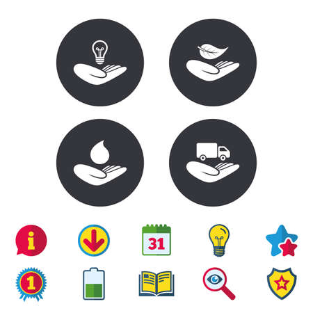 救いの手のアイコン。知的財産権保険記号です。配信トラック標識です。自然の葉と水ドロップを保存します。カレンダー、情報およびダウンロー