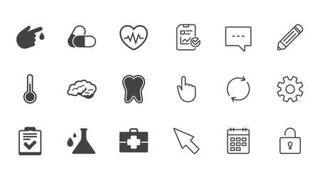 Medicine, healthcare and diagnosis icons. Tooth, pills and doctor case signs. Neurology, blood test symbols. Chat, Report and Calendar line signs. Service, Pencil and Locker icons. Vector 向量圖像